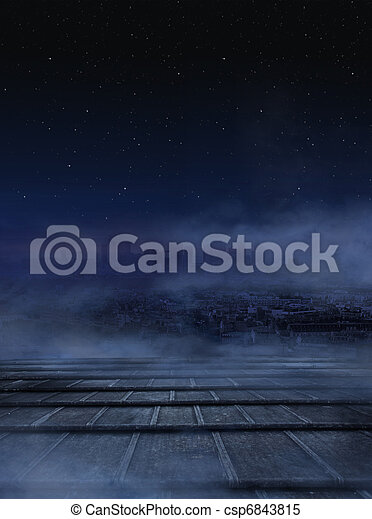 Amazing view of city at the night - csp6843815