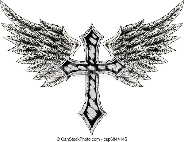 tribal cross with wing - csp6844145
