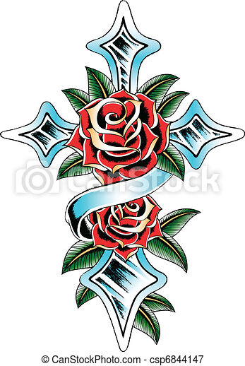 cross wing rose ribbon  - csp6844147