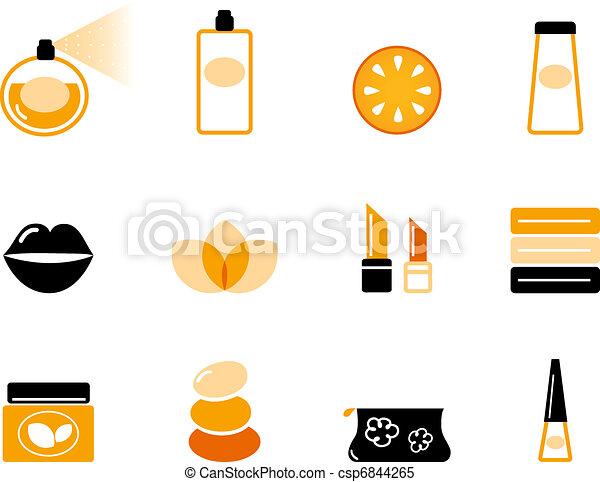 Luxury cosmetics and wellness icon set ( orange & black )  - csp6844265
