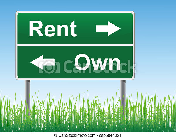 Vector Clip Art of Rent and Own road sign. - Rent and Own road ...