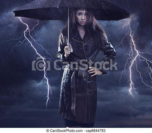 Single woman wearing coat holding umbrella. Creative szmbol of the bad weather