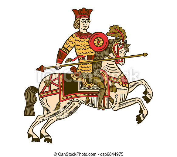 Medieval Knight On Horse Drawing Medieval knight - csp6844975