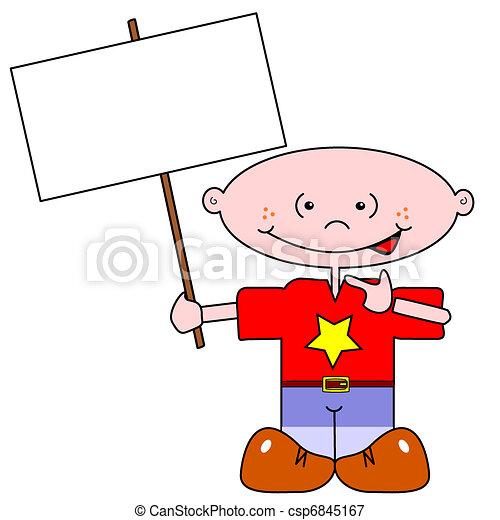 Cartoon boy and signpost - csp6845167