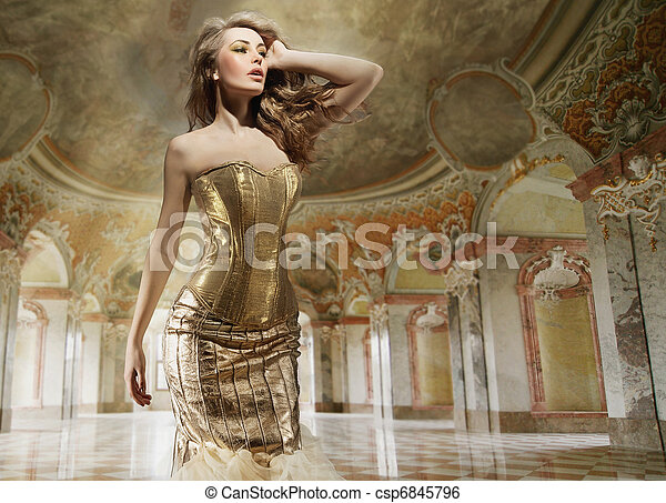 Fine art photo of a young fashion lady in a stylish interior - csp6845796