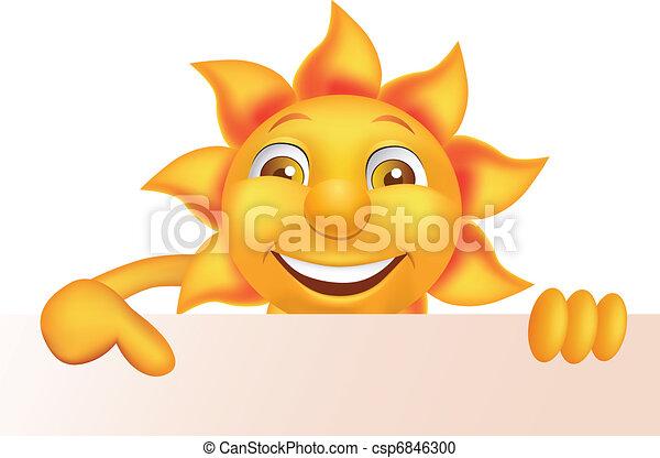 Sun cartoon character - csp6846300