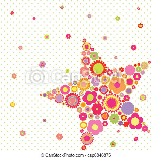 Spring summer colorful flower star shape greeting card - csp6846875