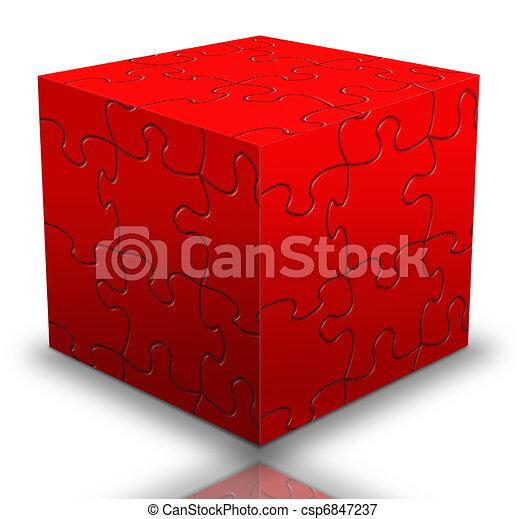 Stock de ilustraciones de caja rompecabezas cubo rojo rompecabezas pedazo csp6847237 - Caja rompecabezas ...