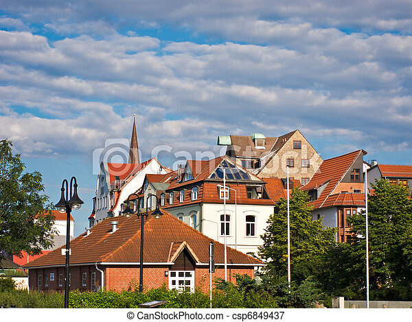View to historic buildings in Rostock. - csp6849437