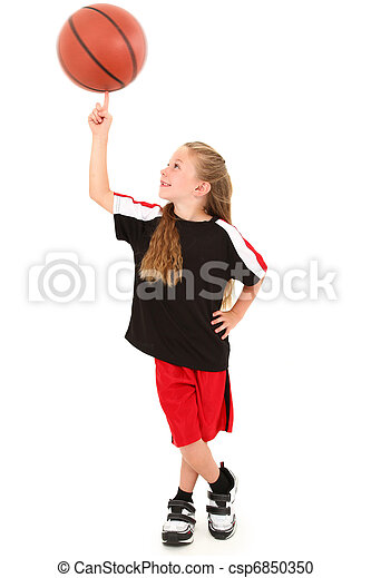 Proud Girl Child Basketball Player Spinning Ball on Finger - csp6850350