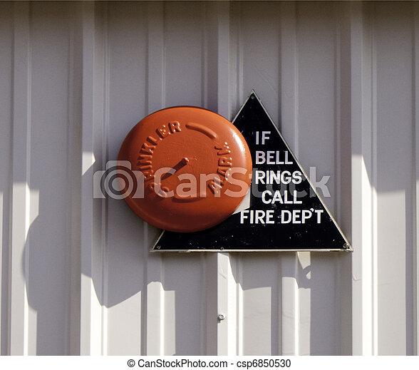 Orange Fire Alarm Bell - csp6850530