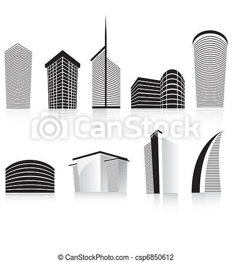 Clip Art Of Black Office Business Building Modern