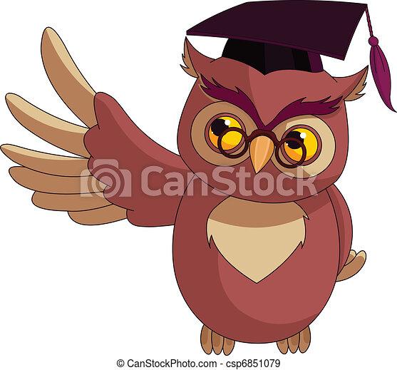 caricatura, sabio, búho, graduación, C - csp6851079