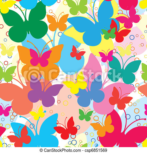 Vivid seamless background with butterflies, vector illustration - csp6851569