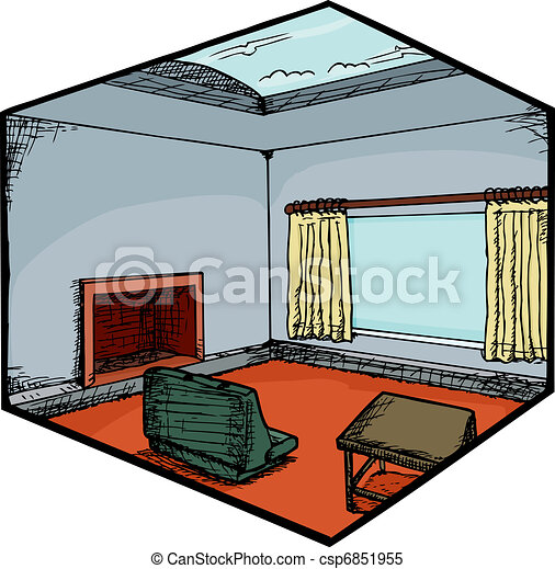 Living Room with Skylight - csp6851955