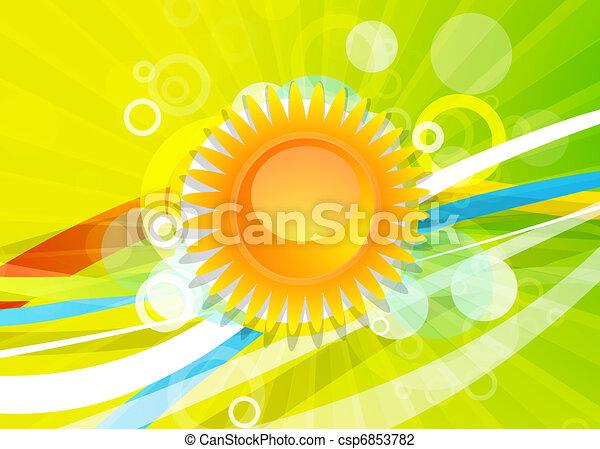 Yellow sun vector background - csp6853782