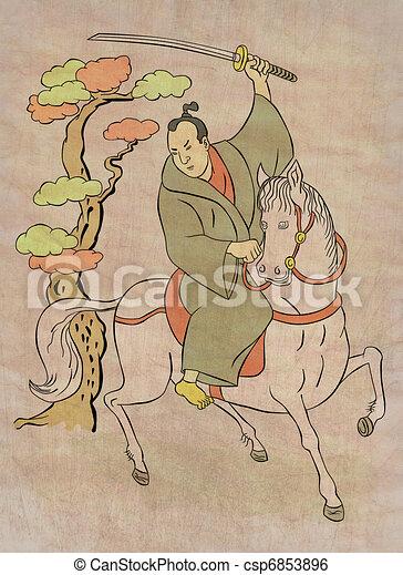 Samurai warrior with katana sword fighting stance - csp6853896