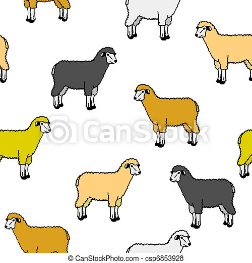 seamless wallpaper with sheep and rams - csp6853928