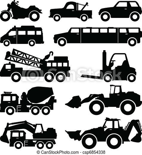 Excavator Truck Van Limousine Lorry - csp6854338