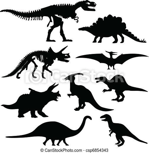 Dinosaur Silhouette Skeleton Bone - csp6854343