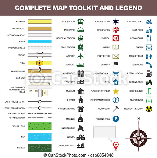 Map icon legend symbol sign toolkit - csp6854348