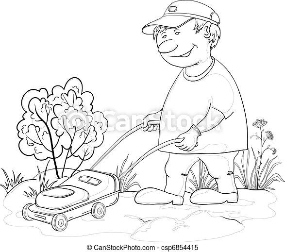 Lawn mower man, outline - csp6854415