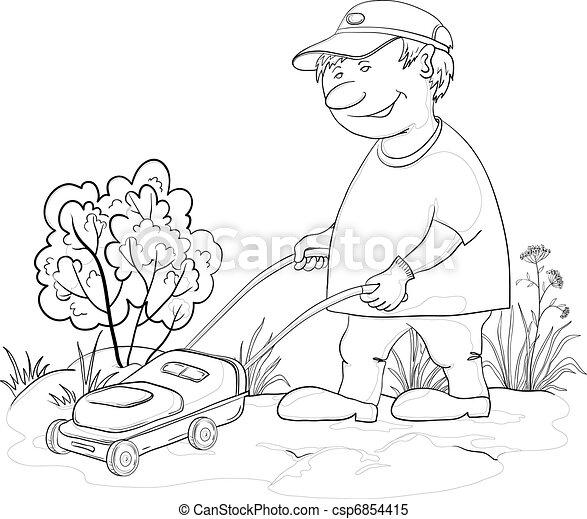 Lawn mower man, outline - csp6854415