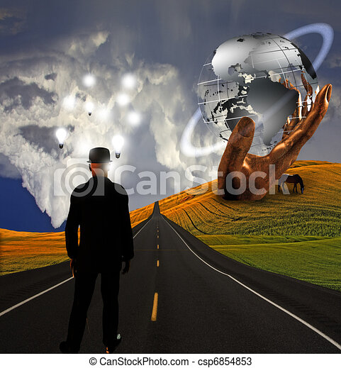 Man with ideas in landscape with sculpture - csp6854853