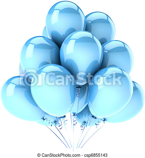 Birthday party balloons cyan blue - csp6855143