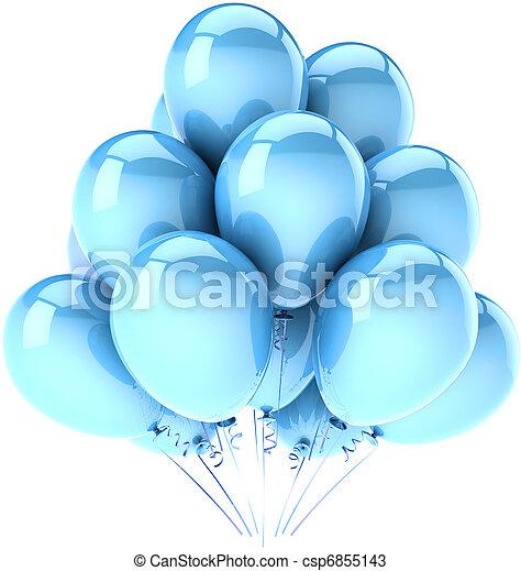 藍色, 黨, 生日, 气球,  Cyan - csp6855143