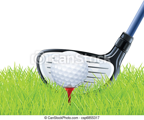 golf club and ball on grass - csp6855317