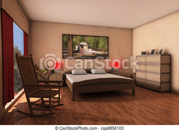 Drawings of bedroom 3d image bedroom csp6856103 for 3d bedroom drawing