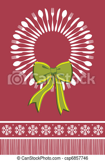 Cutlery wreath christmas background - csp6857746