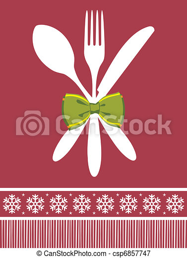 Fork, spoon and knife christmas background - csp6857747