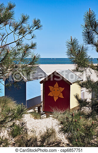Some brightly coloured beach huts in Wells Next the Sea - csp6857751