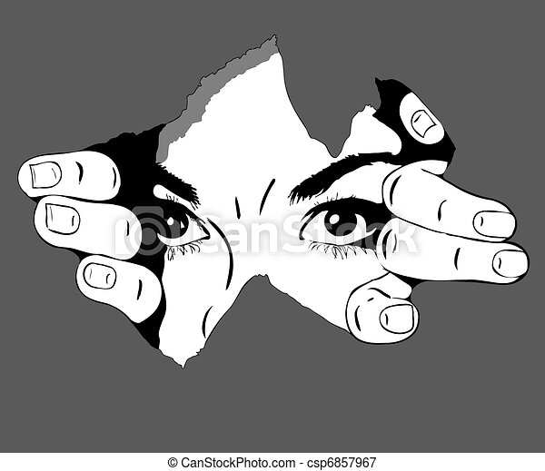 woman eyes from the hole - csp6857967