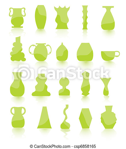 green Flower pots vector - csp6858165