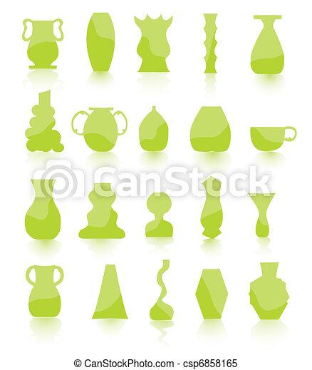 green Flower pots vector - csp6858165