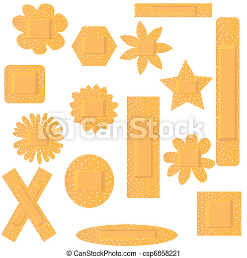 Vector illustration of set of flowers beige plasters - csp6858221