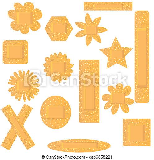 Vector illustration of set of flowers beige plasters - csp6858221