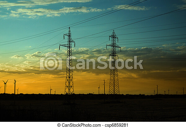 Electricity Pillars and Wind Turbines on sunset - csp6859281