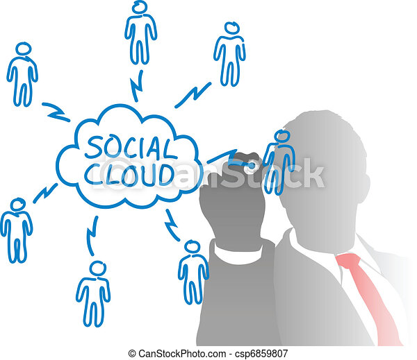 Person drawing social cloud media diagram - csp6859807