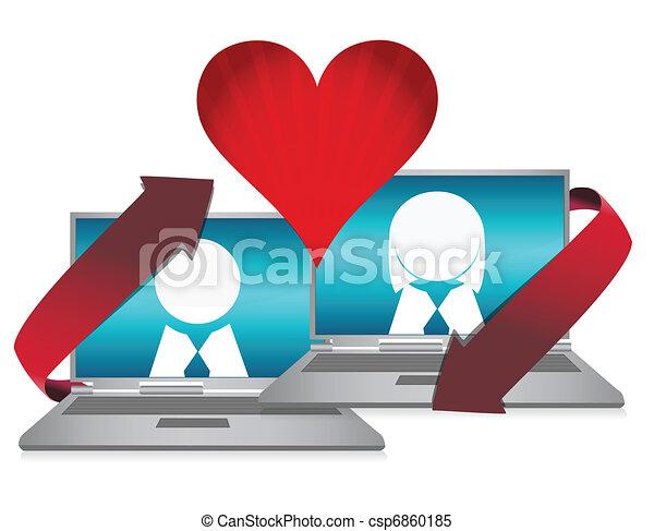 Online dating illustration concept - csp6860185