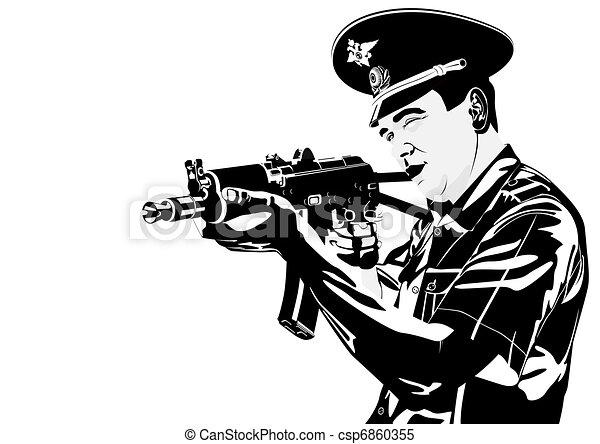 A policeman with a gun - csp6860355