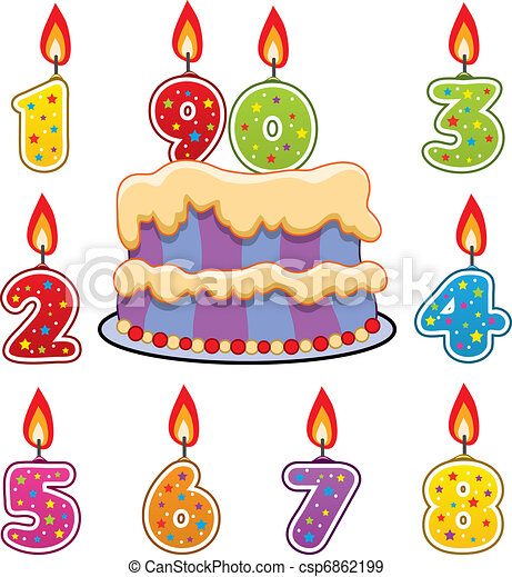 vector birthday candles and cake - csp6862199