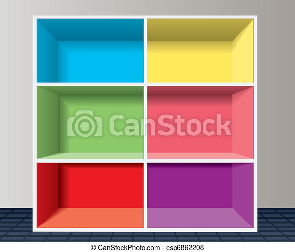 colorful empty bookshelf - csp6862208
