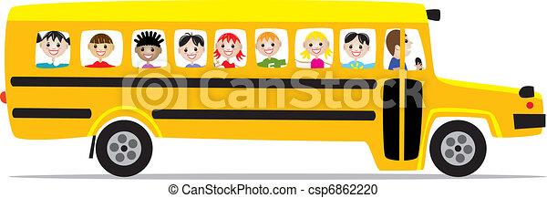 Vector Clipart of school bus and children - vector school bus and ...