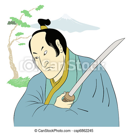 Samurai warrior with katana sword fighting stance - csp6862245