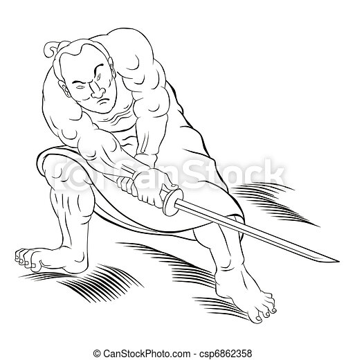 Samurai warrior with katana sword fighting stance - csp6862358