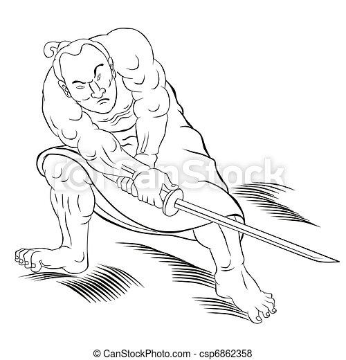 Samurai warrior with katana sword fighting stance - csp6862358